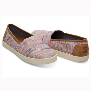 Toms Avalon in Peony Ikat Stripe Pink Size 7.5